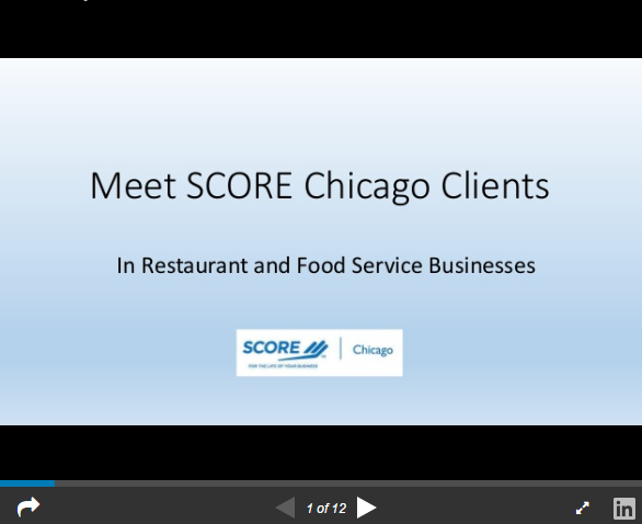 Food Service and Restaurant Business Clients of SCORE Chicago